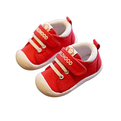 DEBAIJIA Lauflernschuhe Babyschuhe 1-4 Jahre Kinder Schuhe Jungen Mädchen Weiche Sohle Segeltuch Turnschuhe 23 EU Rot (Etikettengröße 21)
