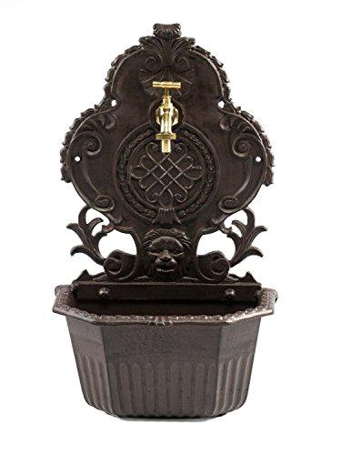 Fontaine de Jardin sur Pied avec Vasque - Style Ancien - Aluminium - Motif Lion - 59 cm