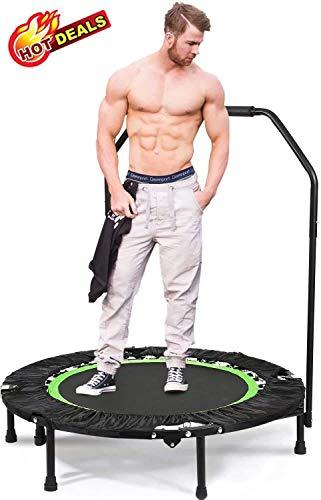 Oppikle Fitness-Trampolin Mini Faltbares Trampolin mit dem verstellbaren Handlauf Fitness Training Trampolin, Nutzergewicht bis 135kg, Trampolin für Jumping (Verstellbare Beine - Grün)