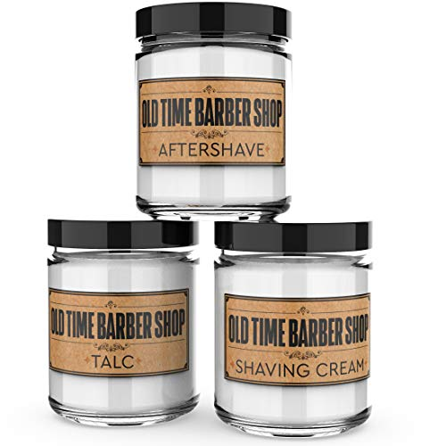 Scented Candles for Men - Old Time Barber Shop - Set of 3: Shaving Cream, Talc, Aftershave - 3 x 4-Ounce Soy Candles - Each Votive...