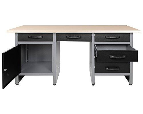Ondis24 Werkbank 170 cm breit mit 6 kugellagergeführten Schubläden und Sitzplatzöffnung in der Mitte, Staufach mit großer abschließbarer Tür, Werktisch Montagewerkbank Werkstatttisch - 2