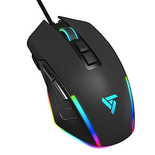 RGB Maus Gaming Maus Metall Kabel VicTsing, 8000 DPI, 8 programmierbare Tasten mit Feuertaste, 7 LED Modi, optische Mouse PC, Windows/Mac OS Gamer