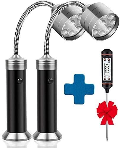 Luces de parrilla para barbacoas para barbacoas y barbacoas, luz magnética de 360 grados, cuello de cisne flexible, resistente a la intemperie, linterna LED, paquete de 2+1 termómetro de carne