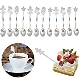 Lwestine 12 Pack Christmas Coffee Spoon Christmas Spoon Set Stainless Steel Coffee Spoons Ice Cream Spoon Tea Soup Sugar Dessert Spoons Christmas Gift Tableware