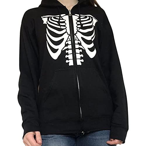 Siyova Sudadera con capucha para mujer, primavera, otoño, manga larga, estampado de calavera, con bolsillos, para niñas, estilo casual, Esqueleto Negro, M