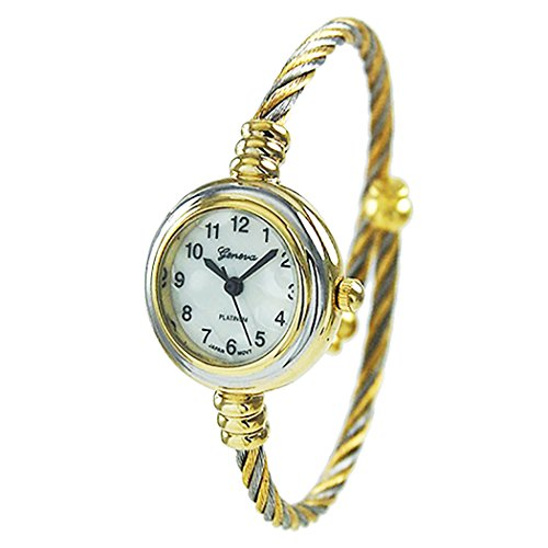 Rosemarie Collections Women's Mother of Pearl Coil Rope Twist Cuff Bracelet Watch (Gold/Silver)