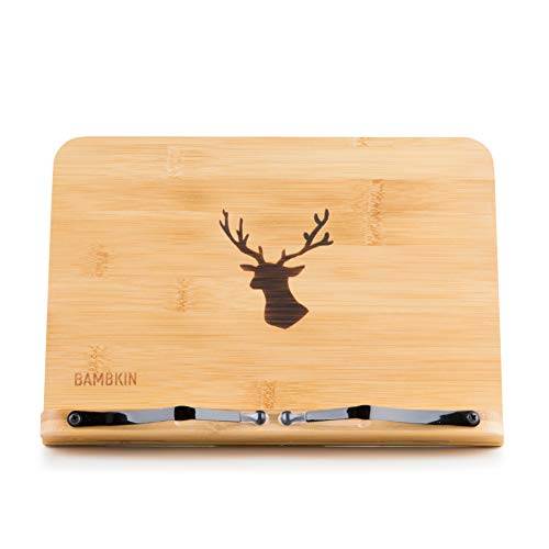 Bamboo Book Stand Adjustable Portable Copyholder Foldable Reading Desk Cookbook Tablet PC Music Bookstand Document Holder with Vintage Antlers Pattern