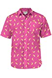 Men's Pink Banana Hawaiian Shirt - Banana Button Down Aloha Shirt for Guys