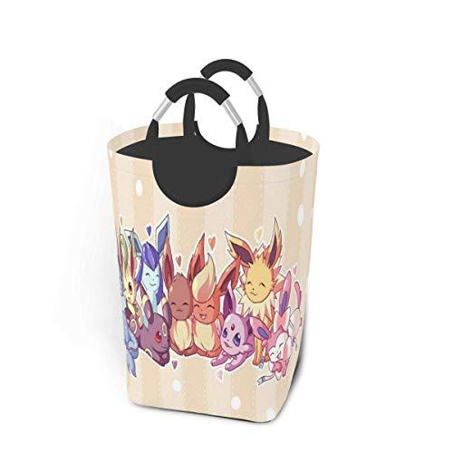 songyang Eevee and Umbreon - Cesta de lavandería para la familia, plegable, impermeable, bolsa de lavandería, bolsa de almacenamiento, organizador plegable portátil