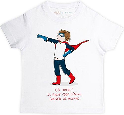 rigolobo Super Héros T-Shirt garçon 2 Ans, Manches Courtes, Blanc, 100% Coton