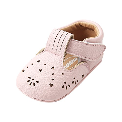 ESTAMICO Baby Girls Sneakers PU Leather Anti-Slip Summer Infant Prewalker Shoes Pink 6-12 Months