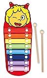 Lena 52951 Bine Xylofon - Abeja Maya, xilófono de Madera con 8 plaquetas de Metal y 2 mazos de Madera, Instrumento de percusión para niños a Partir de 24 m+, diseño de Abejas, Multicolor