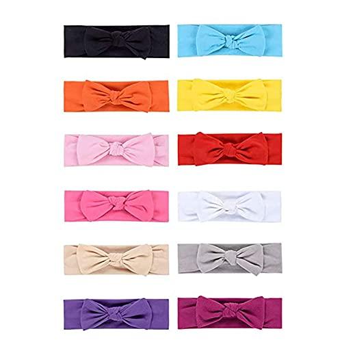 Mengloo 12 diademas para bebé linda bufanda elástica con lazo ancho para bebé niñas niños recién nacidos niños