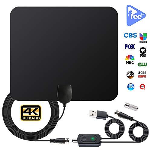 petit un compact Antenne intérieure pour TV numérique HDTV avec amplificateur réglable pour la gamme de chaînes locales…