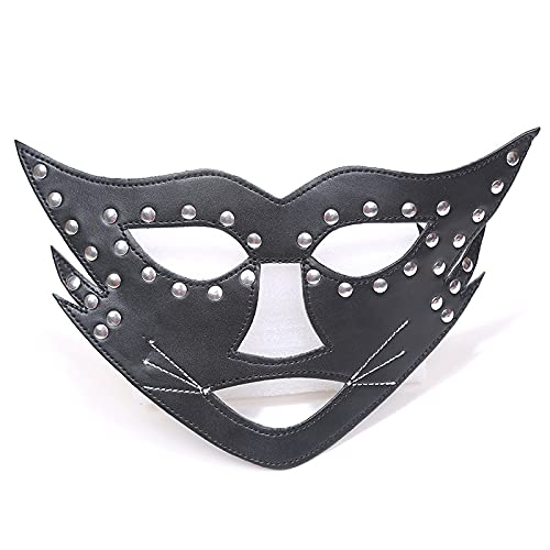 Aiong Máscara de Halloween, máscara de Cuero de PU para Mujer,máscara de Ojos de ConejitoNegro