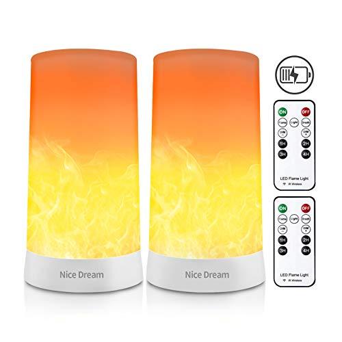 2 Stück LED Flamme Wirkung Licht mit Fernbedienung, USB Wiederaufladbar Tischleuchte Flackernde Flamme Glühbirnen Nachtlichter, Tischlampen für Heim/Party/Bardekoration (Gelb)