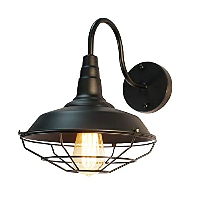 Gooseneck Wall Sconce with Wire Cage Farmhouse Barn Light Fixture Industrial Lighting Decor Vintage Porch Wall Lamp, Black, 1-Pack