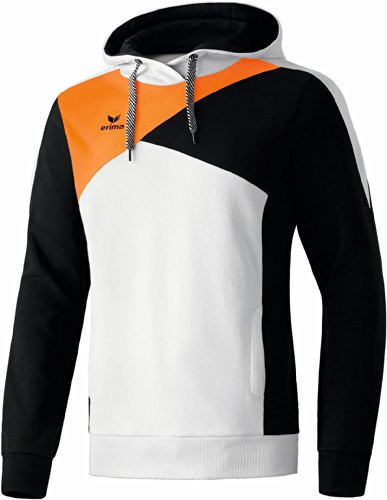 erima Erwachsene Top Langarm Hoodie Tops, Weiß/Schwarz/Neon Orange, XL
