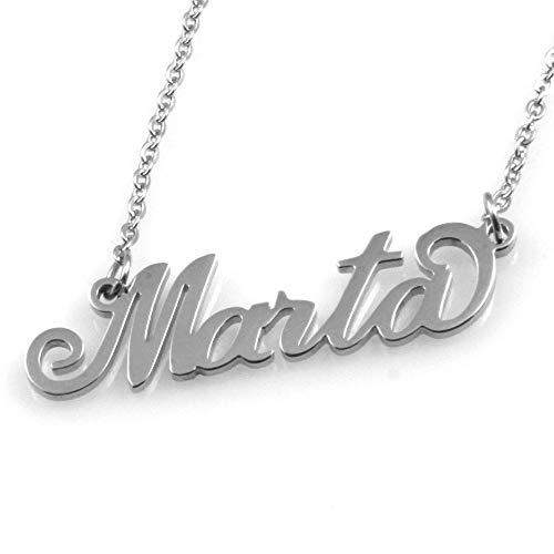 Collana con Nome Marta in Acciaio da Donna Inossidabile Catena Fino a cm 50