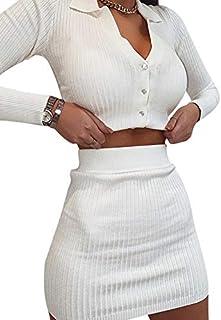 Loalirando 2 Pezzi Completo Sexy Donna Ragazza Slim Aderente Vestito Sportivo Abito Donna Crop Top a Manica Lunga con Bott...