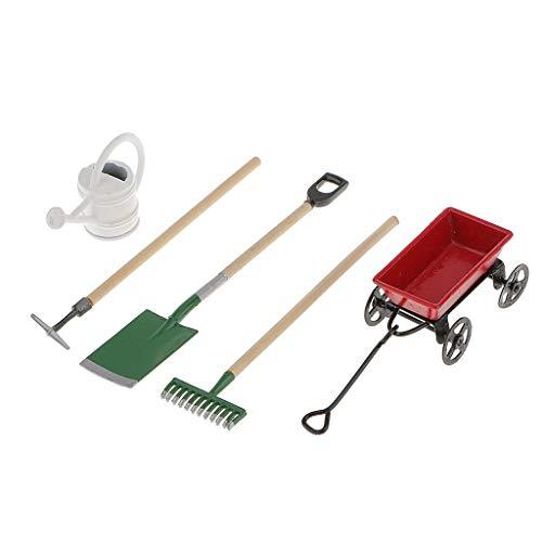 Juego de herramientas de jardín de 5 unids/set, regadera de carro de metal para casa de muñecas a escala 1/12