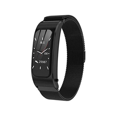 QiaoY Bluetooth 5.0 Color Auricular Talk, Banda Inteligente Impermeable Pulsera Monitor de Frecuencia Cardiaca Deportes Smart Watch Pasómetro Fitness Track, Acero negro.