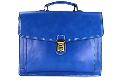 BELLI Design Bag D ital. Leder Businesstasche Arbeitstasche Messenger Aktentasche Lehrertasche Laptoptasche Unisex - 40x30x12 cm (B x H x T) (Royalblau)