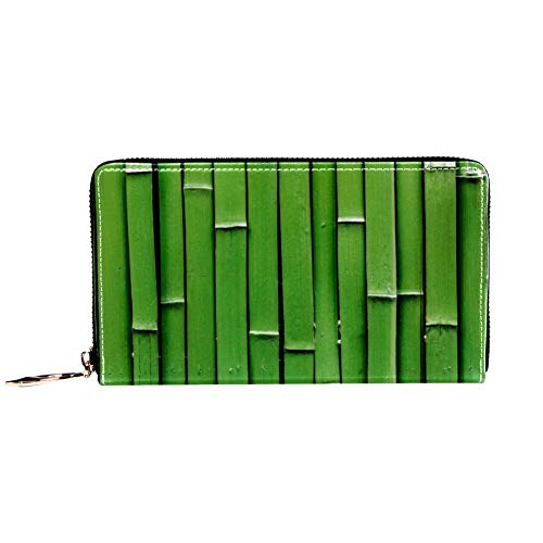XCNGG Damen Reißverschluss um Brieftasche und Telefon Clutch, grüner Bambusdruck, Reisetasche Leder Clutch Bag Kartenhalter Organizer Wristlets Wallets