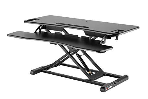 Exeta Höhenverstellbarer Steh-Sitz Tischaufsatz Schreibtisch. (Model 2021) Höhenverstellbarer Schreibtisch // in schwarz