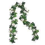 YYHMKB Guirnaldas de Flores de Rosas Artificiales, 2 Paquetes de Flores de Seda Falsas Enredaderas para Arco de Boda, Fiesta, decoración de Pared de jardín