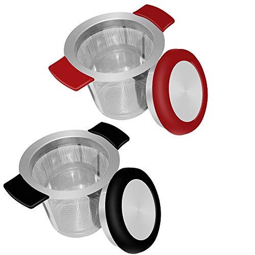 18/8 malla de acero inoxidable infusor de té colador de té con tamaño perfecto, doble asa y gran capacidad, SourceTon se cuelga en teteras, tazas, tazas para té empapado con tapa, paquete de 2 juegos
