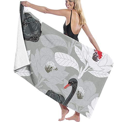 Ewtretr Toalla Playa Black Swan White Flower Pattern