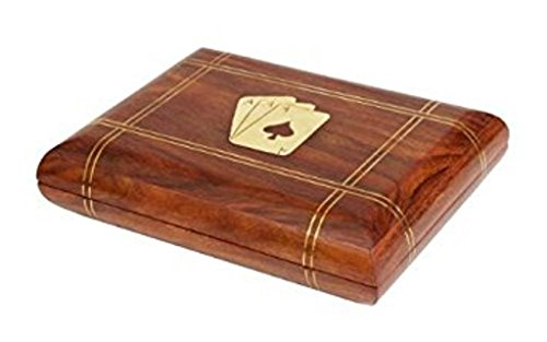 Royal Handicrafts Handcrafted Classic Wooden Playing Card Holder Deck Box