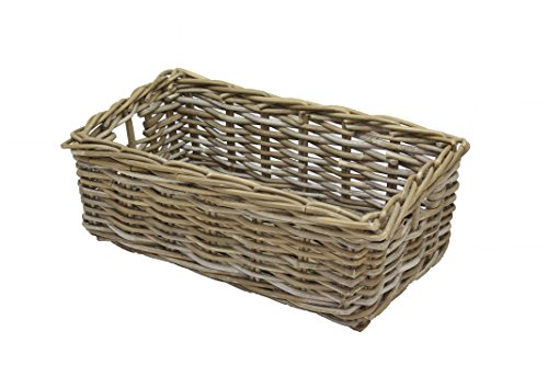 Home-ever Grey Rattan Wicker Storage Basket L 46 cm x W 26 cm x H 16 cm PR45