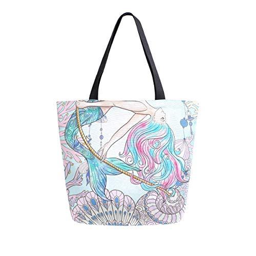 Bolsa de lona con asa superior de sirena dibujada a mano con diseño de sirena