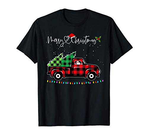 Vintage Style Farm Red Truck with Christmas Tree T-Shirt