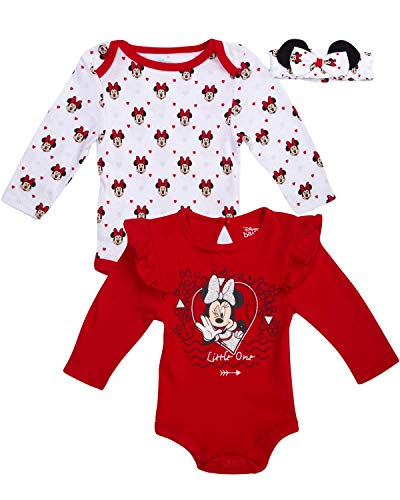 Disney Newborn Baby Girls 3-Piece Long Sleeve Bodysuits with Matching Bow Headband, Size 6-9 Months, Cherry Red Minnie Mouse