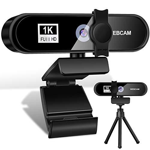 WANFEI Webcam PC 1080P Full HD con Micrófono, PC Webcam Portátil USB 2.0, Streaming Web Cámara Reducción de Ruido para Mac Windows, Videollamadas, Grabación, Conferencias,Skype FaceTime Youtube