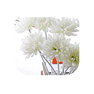 Charmg One Bouquet 12 pcs Chrysanthemum Silk Flowers Floor Style New Home Decoration Flower Beautiful for Worship Artificial Decoration,White