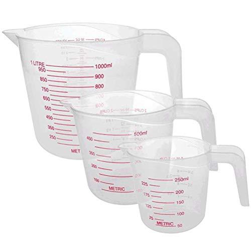 Juego de 3 jarras medidoras de plástico apilables de 250/500/1000 ml, transparentes con escalas transparentes para cocineros profesionales y principiantes
