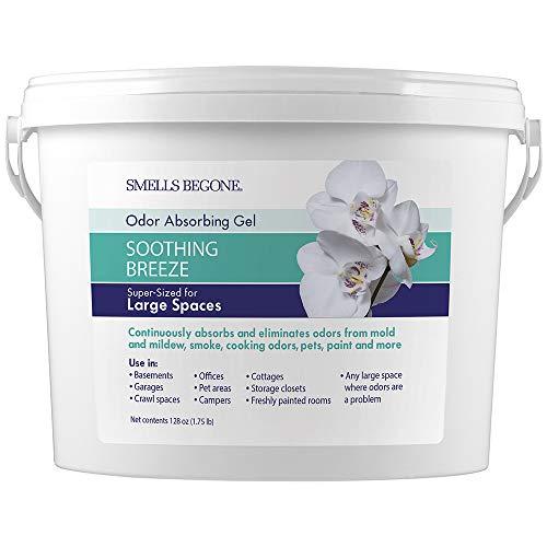 SMELLS BEGONE Odor Absorber Gel - Air Freshener & Odor Eliminator for Homes, Garages & Commercial Buildings - Industrial Size - Soothing Breeze Scent - 1 Gallon
