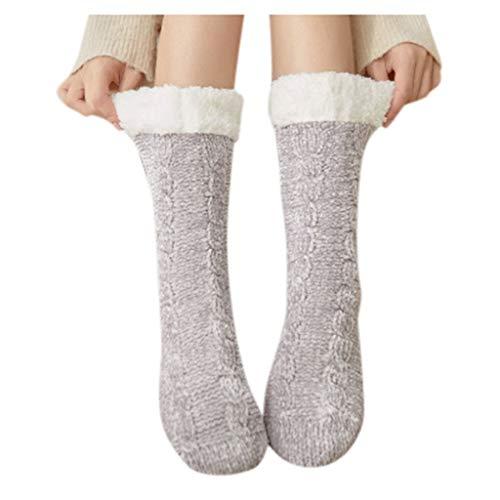 Calcetines de algodón para mujer, de invierno, sólidos, gruesos, antideslizantes, para el suelo, para moqueta, Gris Claro, Talla...