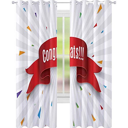 YUAZHOQI Cortina opaca con aislamiento termico The scrollcongrats Red Scrollcongrats on The White Backgroundvector illustr Drape para sala de estar 132 x 213 cm