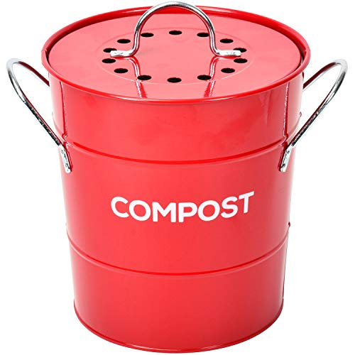 Check Out This Spigo Indoor Kitchen Compost BIN, Great for Food Scraps, Includes Charcoal Filter for...