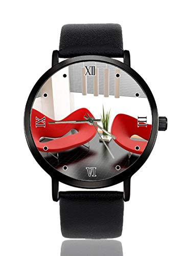 Moderne rote Sofas Cool Ultradünne Herren Damen Armbanduhr Business Casual Sport Quarz Armbanduhr für Frauen Herren Wasserdicht Unisex Armbanduhr