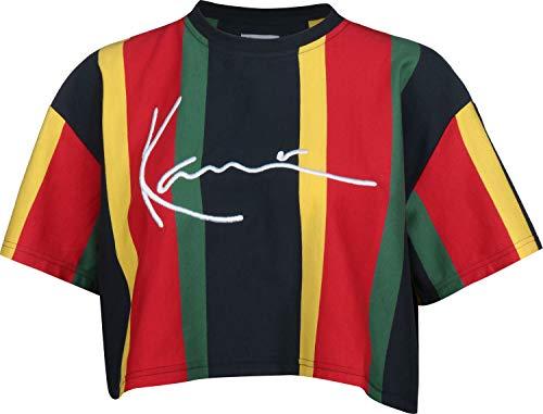 Karl Kani Signature Stripe tee Ladies T-Shirt Blue-Yellow-Green, tamaño:S