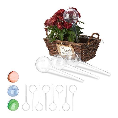 Relaxdays 12 x Bewässerungskugeln, Dosierte Bewässerung, 2 Wochen, Versenkbar, Topfpflanzen, Kunststoff, Durstkugeln, transparent