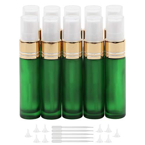 NewZoll 10Pcs Glass Spray Bottles, 10ml (1/3oz) Matte Green Sprayer Bottle with Funnels Droppers, Fine Mist Sprayer Atomizer Vials for Essential Oils Perfume Cosmetic Liquid