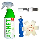 Kit Limpiador aire acondicionado Airnet + 2 Peines de aletas. Desinfectante circuitos casa y coche. Spray higenizador mal olor de Split, filtros, conductos, rejillas. Higienizante bactericida.