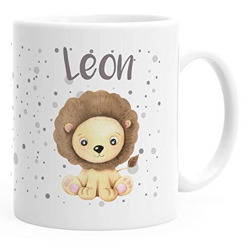SpecialMe® Kindertasse Kunststoff Löwe personalisierte Namenstasse für Kinder Jungen weiß Kunstoff-Tasse